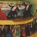 This detail from an illustration in a 1911 Industrial Workers of the World publication depicts a class of workers struggling to hold up finely dressed elites while they drink and dine. Rhetoric about class warfare has waxed and waned in American politics, and is frequently employed by both sides in debates about tax law and other economic policies.