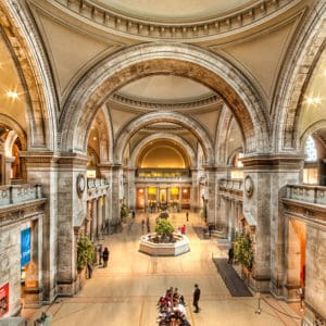 Beautiful Great Hall of Metropolitan Museum of Art with tall arches and copious space