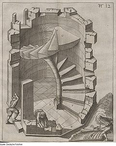 Winding Staircase, presented as a look through a castle wall