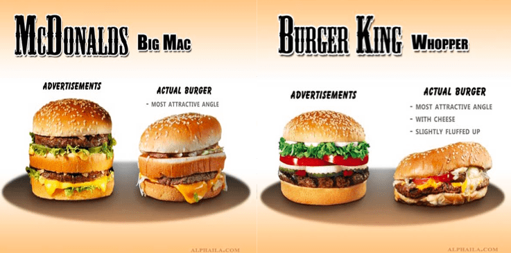Advertising affects perception. Comparison of Big Mac advertised and actual. alongside similar comparisons with Whopper