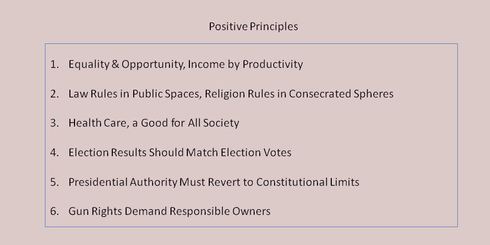 List of significant principles that the article relies on