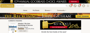 Display of Goodreads web site