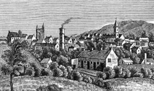 Ballymena. A drawing of the small town with a church steeple and a tower with smoke from a chimney