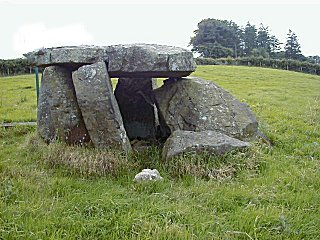 Craigs Dolmen. Large standing stones with a flat stone capping an enclosed space