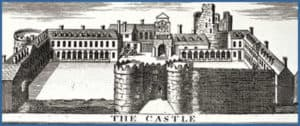 Dublin Castle in 1728. At that time a large fortress with an imposing gate with one wall incomplete