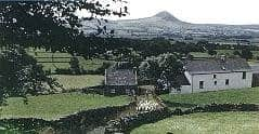 Slemish Mountain prominent above the farmland
