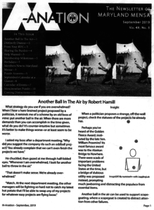 "Cover of Sep 2019 Maryland Mensa M-Anation showing jugglers in front of tents for my story, ""Another Ball in the Air"""