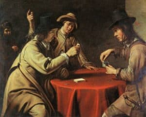 Three card players, gambling.