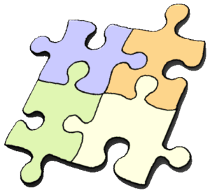 Four pieces of an interlocking jigsaw puzzle