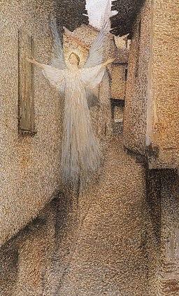 Ghost floating in narrow walkway