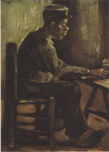 Early, somber van Gogh. Farmer at a table