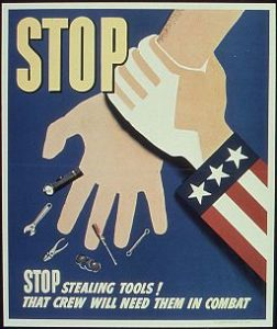 Uncle Sam grasping the wrist of a thief