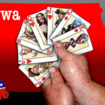 Cartoon. Playing cards with candidate faces
