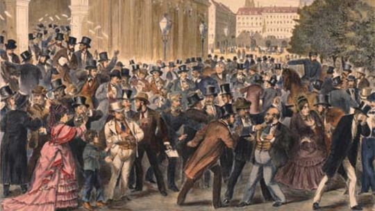 Painting of Black Friday, 9 May 1873, Vienna Stock Exchange. The Panic of 1873 and Long Depression followed.