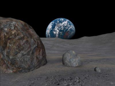 Earth beyond Moon rocks in Astronaut VR