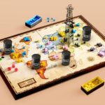 Game board of world oil operations with derrick and barrels