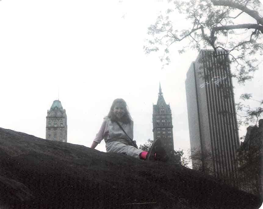 Carol on a schist rock in Central Park