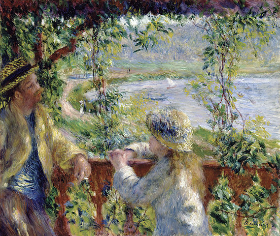 "Renoir's ""By the Water"" with images both lit and left for the imagination"