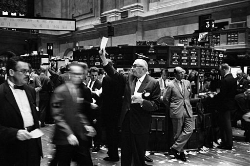 Stock market floor trading before electronic operations