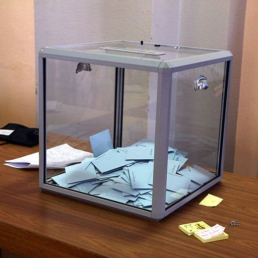 Glass ballot box holding votes